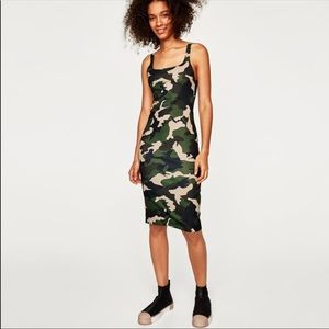 Zara camo 2018 bodycon midi dress